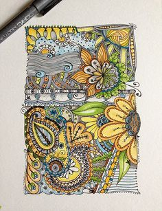 Zentangle doodle with florals and paisley