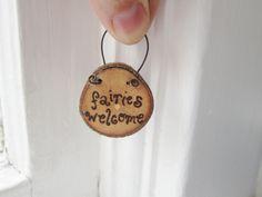 Fairy faerie garden sign Fairies welcome handburned by averyrayne, $7.00