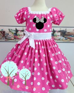 Minnie Dress Features:  Dress is made with cotton Poke-a dot fabric The Dress is made with elastic in the back for fit and long fitting
