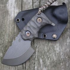 "Wander Tactical Tryceratops Black Fixed Blade Knife (2.5"" Raw Satin) http://www.perryknifeworks.com/wander-tactical-tryceratops-black-fixed-blade-knife-2-5-raw-satin/"