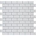 Smooth, translucent glass mosaic tile Polished ice white glass with a uniform appearance in tone Easy to install 11.75 x 13 x .375 mesh mounted tiles Grade 1, first quality product PEI 0 is suitable f