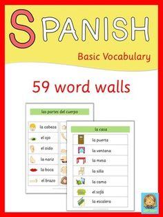 This set contains 59 Spanish word walls. Please note: Spanish Word Walls is also part of this Bundle  Topics covered in this set are:  adjectives  animals  body  seasons  months  days of the week  clothes  colors  family  emotions  food  house – rooms, furniture, appliances  professions  environment  countries – nationalities, languages  numbers  places in town  prepositions  pronouns – subject, direct object, indirect object  school objects  transportation  verbs – free time activities…