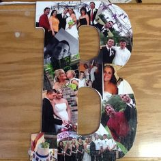 Mod podge pictures on wooden letter