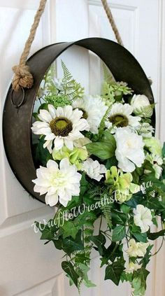 Metal Wreath with Hanging Blossoms