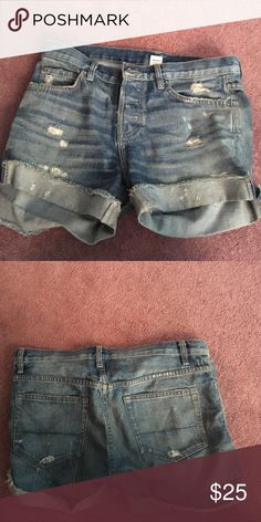 Free People NSF distressed boyfriend denim shorts Free People Distressed denim boyfriend shorts Sz 26.  Runs large.  Slouchy and comfortable. NSF Jeans Boyfriend