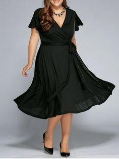 Low Cut A Line Plus Size Surplice Front Tie Swing Dress - Black - - Black Mobile Midi Dress Plus Size, Plus Size Party Dresses, V Neck Midi Dress, Plus Size Outfits, Robe Swing, Swing Dress, Plus Size Kleidung, Wedding Dress Styles, Asymmetrical Dress