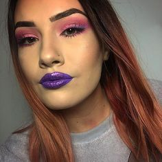 Bright pink makeup purple makeup purple highlight contour pink eyeshadow purple glitter lips pink and purple ombré liner See this Instagram photo by @muasamanthaaa • 59 likes