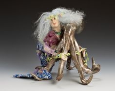 """MER BLU""...one of a kind art figure by Katie Gardenia"