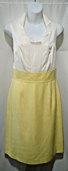 This dress features a luxurious silk blend fabric, pleating in the front top, a scalloped neckline, lining inside, a small partial slit up the back bottom, a partial zipper down the back top, and a yellow tweed skirt. | eBay! #tahari #arthurslevine #career #dress #silk #tweed #yellow #fashion #style #ebay