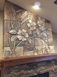 me ~ Pin on RAD ~ This Pin was discovered by Ruthanne Danford. Clay Wall Art, Mural Wall Art, Wall Sculptures, Sculpture Art, Front Wall Design, Styrofoam Art, Aluminum Foil Art, Cement Art, Concrete Sculpture