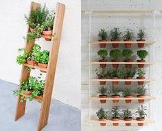 Resultado de imagem para horta em vasos na parede