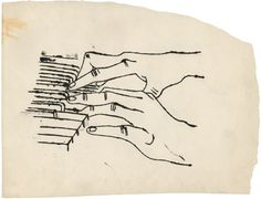 Andy Warhol's unseen early drawings: Two hands playing piano, circa 1954.