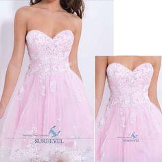 New Pink Lace Evening Wedding Dress Miniskirt Party Prom Dress Homecoming Dress #miniskirt #EveningWeddingHomecomingPartyProm