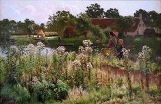 Emile Claus, De Leie in Astene. 1885. Oli sobre tela, 473,5 x 115 cm. Bruges: Groeningemuseum.