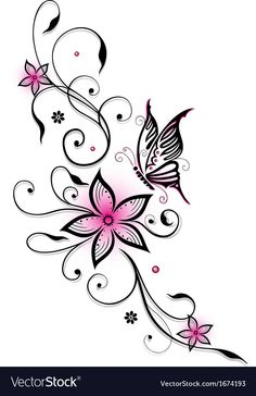 Pink and black flowers with butterfly, summer time – … Rosa und schwarze Blumen mit Schmetterling, Sommerzeit – Back Tattoos, Foot Tattoos, Future Tattoos, Flower Tattoos, Body Art Tattoos, Small Tattoos, Tatoos, Stomach Tattoos, Butterfly Tattoo Designs