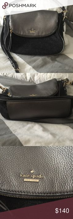 Kate Spade gray leather and felt handbag Lovely and gently loved Kate Spade handbag gold hardware with gray and felt and adjustable shoulder strap.  Comes with dust bag kate spade Bags Shoulder Bags
