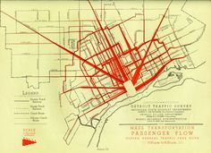 Detroit traffic survey 1936-1937: mass transportation passenger flow during general traffic peak hours, 5pm to 6pm