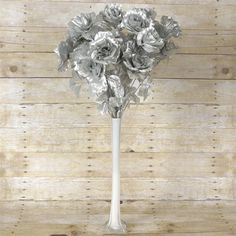 96 GIANT Silk Open Rose - Silver | eFavorMart