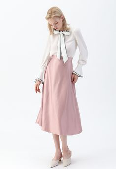 Bowknot Bell Sleeves Chiffon Top in White Barefoot In The Park, Satin Skirt, Faux Leather Skirt, Line Design, Shoulder Sleeve, Unique Fashion, Chiffon Tops, Midi Skirt, Bell Sleeves