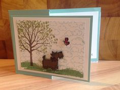 Stampin Up Sheltering Tree and dog from Stampin Up Hey Girl