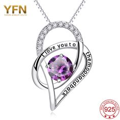 YAFEINI 925 Sterling Silver Jewelry I LOVE YOU TO THE MOON AND BACK Necklace Heart Shape Pendant With Clear CZ GNX10302  #Affiliate