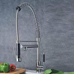 Amazon.com: LightInTheBox Single Handle Centerset Spring Pull Down Kitchen Sink Faucet, Chrome: Home Improvement