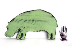 Hippo Pictured in Moss Pine Wood Sign Wall Decor by ThePineNuts, $28.00 Cute Hippo wants a home on your wall or shelf.