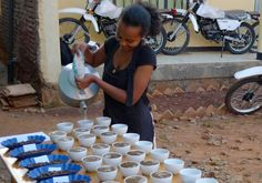 Setting up a cupping session in Ethiopia