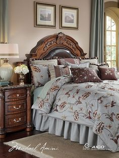 Vintage and European styled Michael Amini bedding set from famed furniture designer. Enjoy luxury comforters and complete bed in a bag sets Aqua Bedding, Queen Bedding Sets, King Comforter Sets, Luxury Bedding Sets, Brown Bedding, Modern Bedding, Bed Linen Online, Luxury Bedding Collections, Bedroom Decor