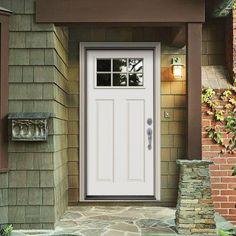 36 in. x 80 in. Premium 6 Lite Primed Steel Prehung Front Door with Brickmold - THDJW182500096 - The Home Depot