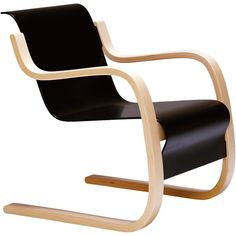 Artek Armchair 42 - Alvar Aalto (€2.580) ❤ liked on Polyvore featuring home, furniture, chairs, accent chairs, artek chair, white accent chair, black white chair, black armchair and white lacquer chairs