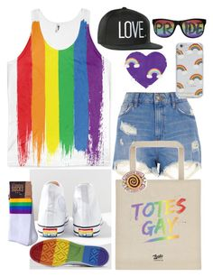 Pride Outfit! by ZealoApparel on Polyvore. LGBTQ rainbow flag inspired outfit for the parade.