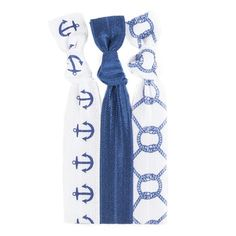 Our Blair™ Hair Tie Set ( Navy Anchor on White | Solid Navy | Navy Nautical Knot on White) is a preppy girl must!