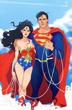 Wonder Woman and Superman by Marguerite Sauvage *