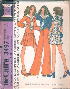McCalls 3497 1970s Misses Two Piece Dress Pattern Sailor Collar Pullover Blouse Mini Skirt and Hip Hugger Wide Leg Pants womens vintage sewing pattern by mbchills