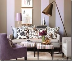 good way to mix black/white prints with purple  purple chair HandH