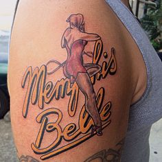 Memphis Belle pinup tattoo by Brandy Pouliot at Twisted Anchor Tattoo in Ocean Springs, MS