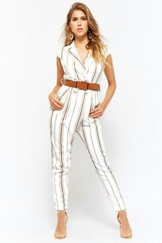 Product Name:Striped Belted Jumpsuit, Category:dress, Outfits For Teens, Summer Outfits, Cute Outfits, Work Outfits, Jumpsuit Elegante, Grad Dresses, Maxi Dresses, Rompers Women, Women's Rompers
