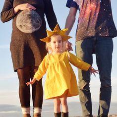 Halloween costume. Sun, moon and stars. Pregnancy costume. Family costumes. Toddler costumes. yellow toddler dress.