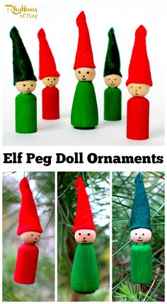 Elf wooden peg doll Christmas ornaments are an easy holiday DIY craft. Both kids and adults can make these cute decorations for your x-mas tree this year. Click through for the easy to follow tutorial!