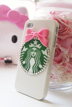 Starbucks Inspired Hard Iphone 4 4s with Pink Bowtie Cell Phone Case. $16.50, via Etsy.