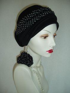 Black Chemo Hat  Alopecia Headwrap
