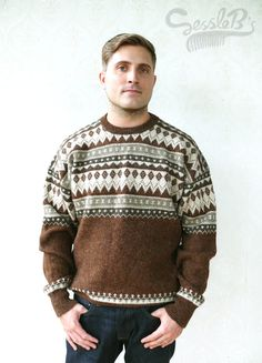 """Vintage Men's knitted retro patterned sweater, Large - Browns and creams . . . . . . . . . . """"Like"""" our fb page for 10% discount"""