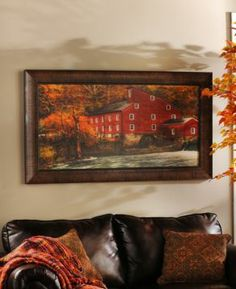 With an ideal country setting and beautiful fall hues, the Red Mill framed art print is truly bursting with color! Looks terrific over a hearth or fireplace! Framed Art Prints, Framed Artwork, Red Mill, Wall Decor, Wall Art, Beautiful Homes, Diy Home Decor, Family Room, Gallery Wall