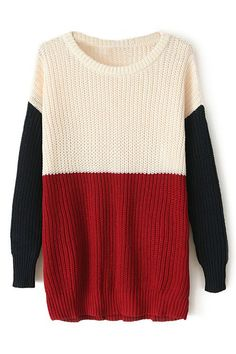 Color Block Long Sleeves Sweater