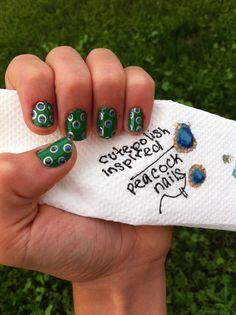 Cutepolish inspired peacock nails