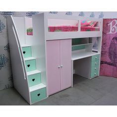 Buy Kids space saver loft bed frame Online in Australia, Find best Beds products KIDS SPACE SAVER LOFT BED can customise elements underneath as well as colouring Loft Beds For Teens, Bunk Beds For Girls Room, Bedroom For Girls Kids, Kid Beds, Girl Bedroom Designs, Room Ideas Bedroom, Small Room Bedroom, Bedroom Loft, Bedroom Decor