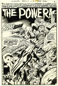 Jack Kirby and Mike Royer's original splash page art for Forever People #8, 1971.