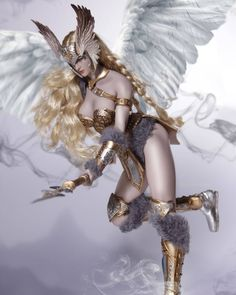 Viking Warrior Woman, Angel Warrior, Fantasy Warrior, Gothic Fantasy Art, Fantasy Girl, Fantasy Creatures, Mythical Creatures, Character Art, Character Design