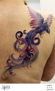 GORGEOUS Phoenix (?) tattoo. Love the colors, the shape, the look....overall, this is just a spectacular tat === Anna Belozyorova - barnaul russia tattoo artist   tattrx tattoo directory tattoos, tatouages, tätowierungen, татуировки, татуювання, tatuajes, tatuagens, tetovaže, tatuaggio, tatuaggi, タトゥー, 入れ墨, 纹身, tatuaże, dövme, tetování, קעקועים ,الوشم, τατουάζ tatoo, tatau, tatuoinnit, Hình xăm, tattoo art, tattrx, tetování, tetoválás, tatuiruotės by elisa